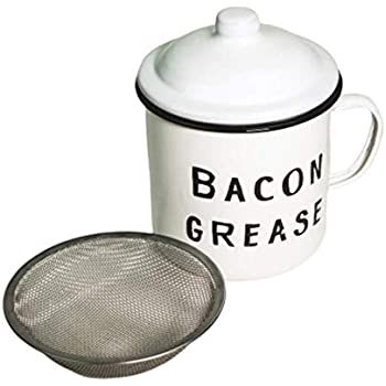 Golden Hills Mercantile Bacon Grease Container with mesh strainer - rustic mid-century modern farmhouse design, white enamel on metal, 4 inch x 4 inch vintage enamelware with strainer and lid