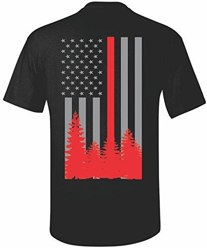 - Patriot Apparel Wildland Wild Fire Thin Red Line Firefighter T-Shirt Hotshots Design (X-Large, Black)