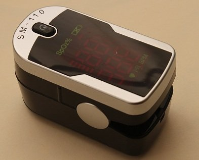 Deluxe SM-110 Two Way Display Finger Pulse Oximeter with Carry Case & Neck/Wrist Cord
