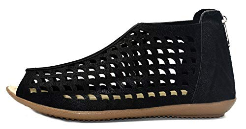 ZIAULA Women Ladies and Girls London Cutouts Flat Synthetic Napa Leather Fashion Sandal