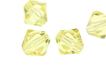 de06e0d15 Image Unavailable. Image not available for. Color: 100pcs 3mm Adabele  Austrian Bicone Crystal Beads Jonquil Yellow Compatible with Swarovski ...