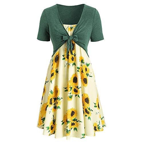 Missroo Plus Size Sunflower Print Dress with Front Knot Top -