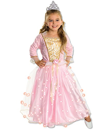 Child's Rose Princess Costume with Fiber Optic Light Twinkle Skirt, - Int Rose