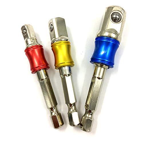 PANOVO (3Pcs) Power Hand Tools Sockets Adapter sets, Hex Square Nuts Driver Drill Impact Socket Extension Bit Adapter Socket Wrench Adapter Set 1/4″ 3/8″ 1/2″ drive.