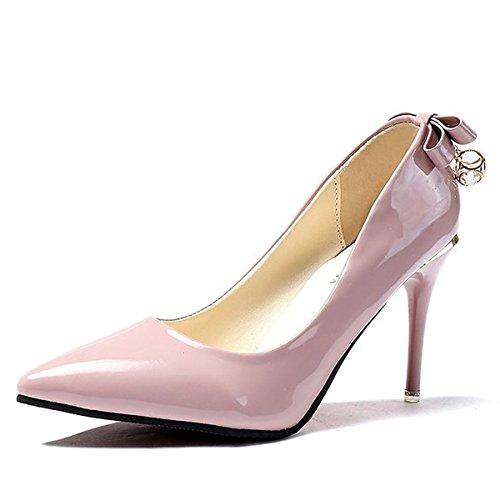 per Primavera Rosa Scarpe Alto DIMAOL PU Tacco Tacchi Rosa Rosso Casual Cadono Nero Comfort Donna wFxqq7