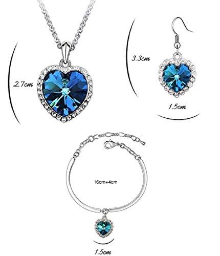Ensemble en coeur de loc/éan collier boucles doreille et bracelet 18 carats plaqu/é or blanc avec cristaux bleu imitation /émeraude de Swarovski