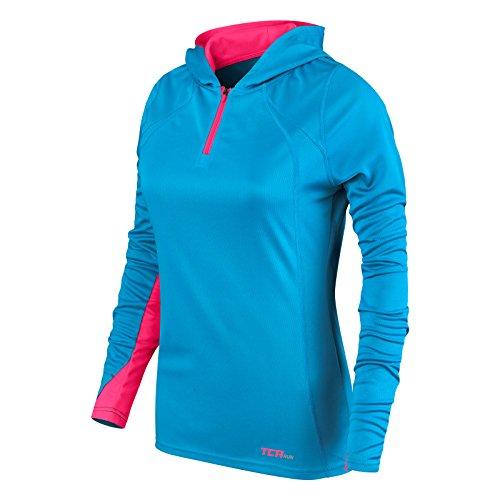 TCA Damen Leichtes Lauf-Shirt Energy - Kragen mit Kapuze und Reißverschluss - Blue Chill/Vivid Pink (Blau/Pink) - S