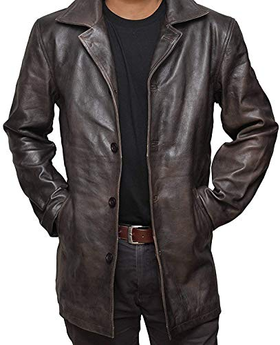 fjackets Brown Distressed Natural Real Leather Jacket | [1500036],Supernatural RubOff XXL