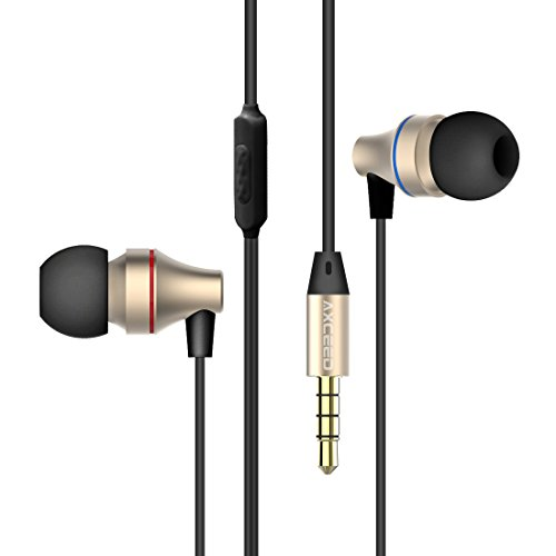 Axceed In-Ear Earphones with Gold-plated Noise Cancelling Wired Stereo Earpiece Sweatproof 3.5mm Jack Earbuds for Smartphones 1.2M Black