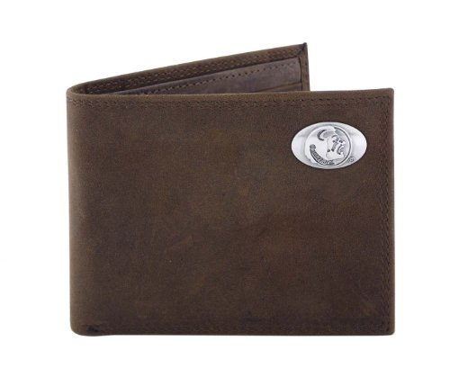 NCAA Florida State Seminoles Light Brown Crazyhorse Leather Bifold Concho Wallet, One Size