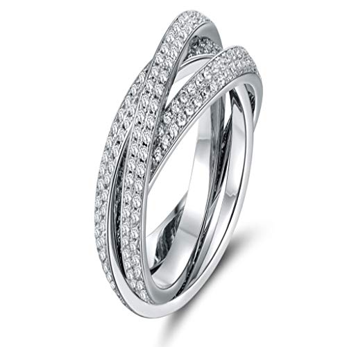 (Naomi 18K White Gold and Cubic Zirconia 3 Row Rolling Ring Multi-Color Size)