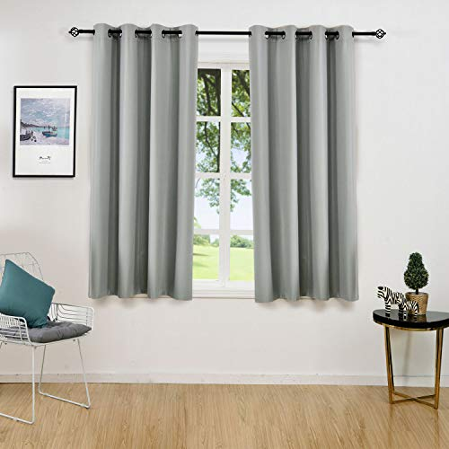 ALLBRIGHT Solid Thermal Insulated Grommet Blackout Curtains/Drapes for Bedroom Window (2 Panels, 52 x 63 Inch, Aluminum Grey)
