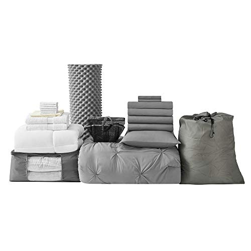 College Dorm Bedding Pack - Twin XL - Pin Tuck Alloy Color Set (Tuck Pin Bedding)