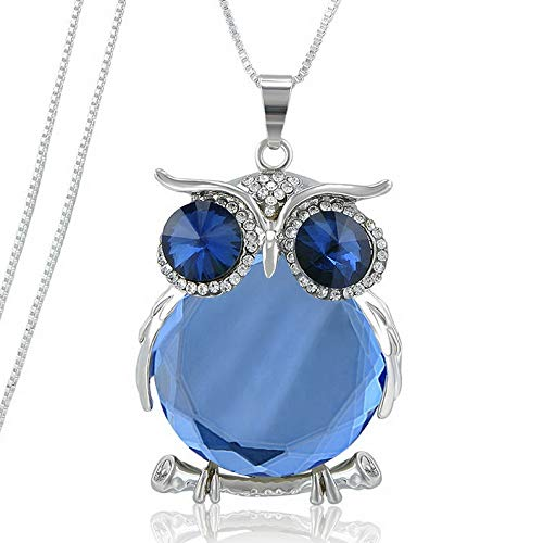 Hebel Women Owl Rhinestone Crystal Pendant Necklace Animal Long Sweater Chain Jewelry | Model NCKLCS - 36911 |