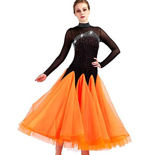 garudaレディース社交ダンスドレス パーティーダンス2次会発表会ワンピースドレス 黒+オレンジ B07J36HX6M 黒オレンジ,Medium