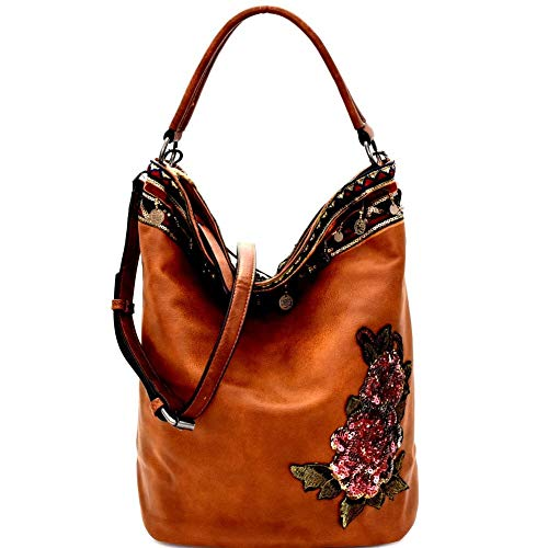 Sequin Embellished Flower Patch Bohemian PU Leather Hobo Bag