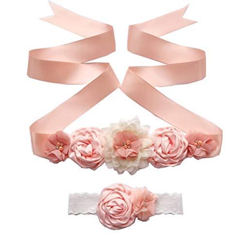 Pink Maternity Sash Newborn Photo Prop Flower Girls Bridal Rhinestone Belt with Baby Headband Set
