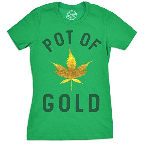 Crazy Dog T-Shirts Womens Pot Of Gold Tshirt Glitter Marijuana Leaf ST Patricks Day Tee For Ladies - Marijuana Gold