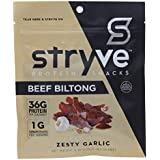 Stryve Biltong Zesty Garlic, Low Fat, Low Carb, Low Sugar 16g Protein, 4oz, Gluten Free and Ketogenic