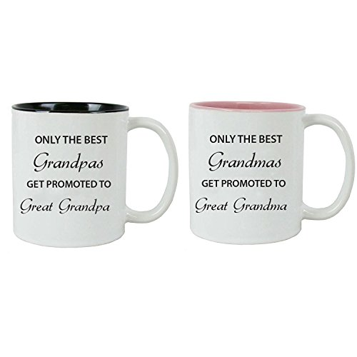 Only the Best Grandpas/Grandmas Get Promoted to Great Grandpa/Grandma Ceramic Coffee Mug, (Black/Pink)