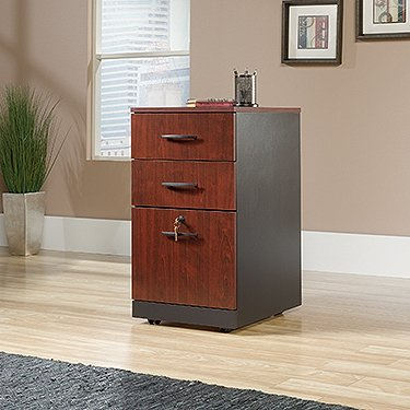 Sauder 419612 Via 3-Drawer Pedestal, Classic Cherry Finish ()