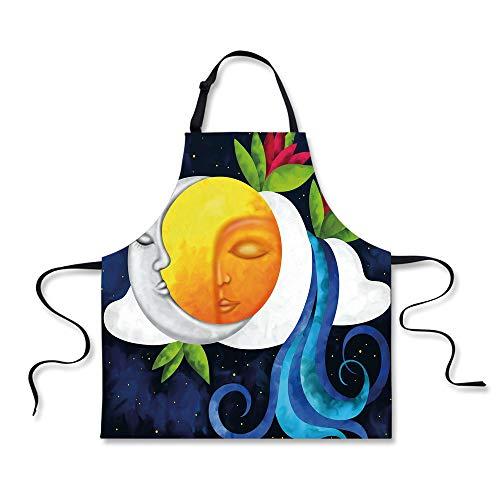 iPrint Cooking Apron,Sun and Moon,Abstract Dreamlike Sky Com
