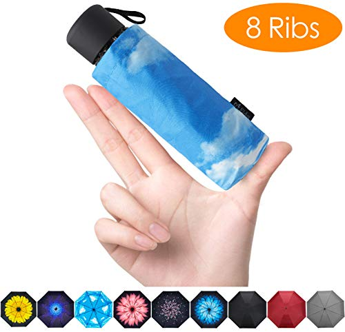 FidusUpgraded 8 Ribs Mini Portable Sun&Rain Lightweight WindproofUmbrella - Compact Parasol Outdoor Travel Umbrella for MenWomen Kids-Blue Sky