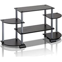 Furinno 12258BK/GY Turn-N-Tube Rounded Corner TV Entertainment Center, Black/Grey