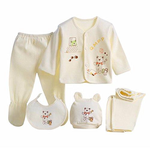 Discount Top Hats (MIOIM 5PCS Newborn Baby 0-3M Boys Girls Cotton Tops Hat Pants Outfit Sets)