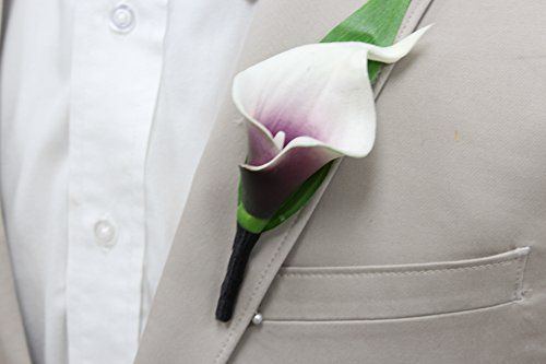 Boutonniere-Real Touch Picasso Plum hand-made keepsake boutonniere Pearl Headed Pin included (Black Ribbon wrapped stem)