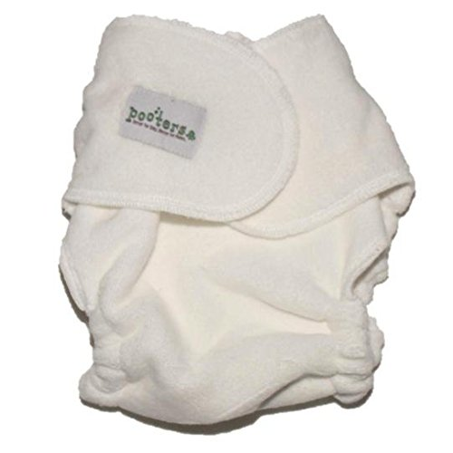 POOTERS Snapless Fitted Cloth Diapers - 6 Pack - Unbleached Premium Organic Cotton, Reusable, Washable, Fits Newborn Babies to Toddlers (5-40 lbs)