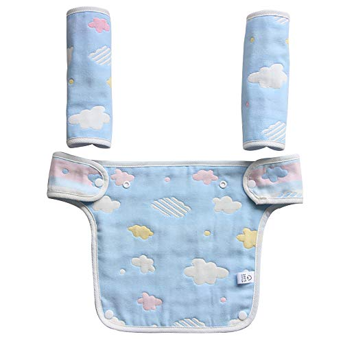 Hothuimin Baby Infant Drool and Teething Reversible Cotton Pad Bib 3-Piece Set for All Carry Position Baby Carrier High Absorbent Unisex Design - Blue - Sling Baby Reversible Carrier