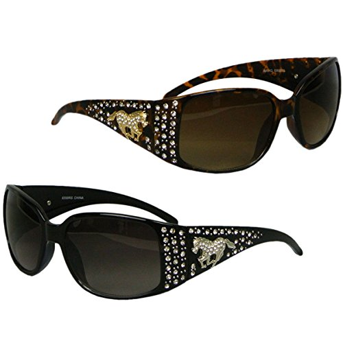 Set of 2 Rhinestone Horse Sunglasses Womens Western Black Silver Tort - Sunglasses Horse