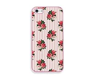 English Roses And Stripes Pink Silicon Bumper iPhone 5 & 5S Case - Fits iPhone 5 & 5S