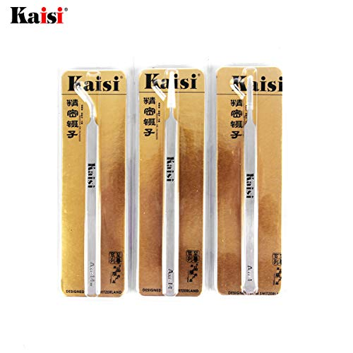 Kaisi Precision Tweezers Set, 3 PCS Stainless Steel Tweezers Kit Curved Tweezers for Craft, Jewelry, Electronics, Laboratory Work by Kaisi (Image #7)
