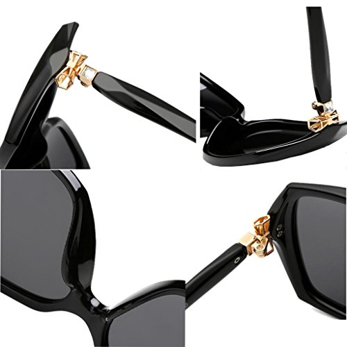 larga Cara de cuadradas Gafas Gafas redonda de Resina de protección sol Face sol Bright WLHW black Color Bright femeninas Glasses Elegante Polarizer Cara UV black Big O0aRw