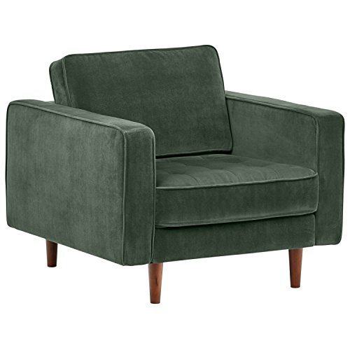 "Rivet Aiden Tufted Mid-Century Modern Velvet Accent Chair, 35.4""W, Hunter Green"