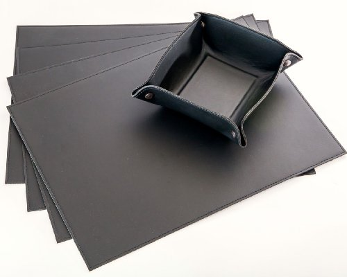 """Placemats Made In Faux Leather & 1 Free Bread Basket - 18"""" X 13"""" - Black"""