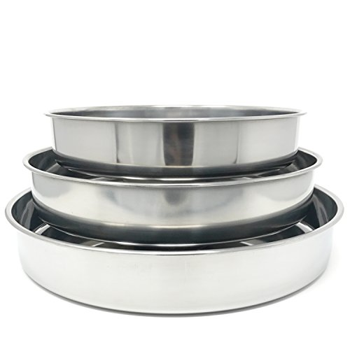 Concord Cookware 3-Piece Stainless Steel Cake Baking Pan, 11 by 12 by 14-Inch by Concord Cookware