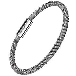 """murtoo Bracelet for Men Braided Bracelet For Gift Men Titanium Magnetic Clasp 8.27"""" Perfect Gift (Grey)"""