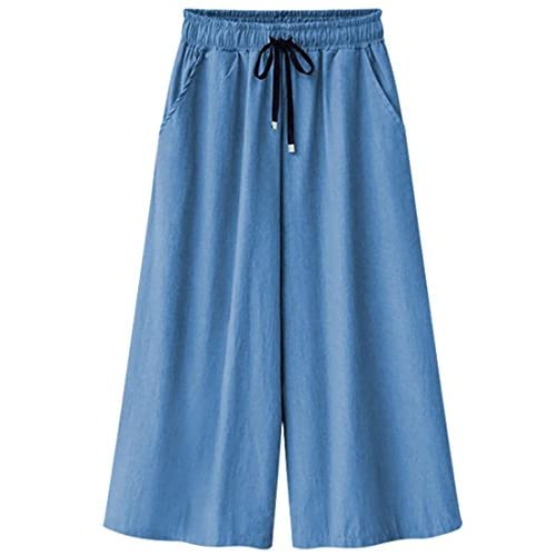 Alion Women's Elastic Waist Wide Leg Cropped Jeans Culottes Pants for sale