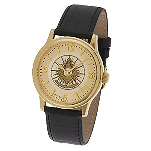 Men's Gold Plated Bulova Freemason Masonic Past Master Watch