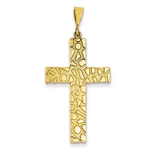 Pampille pépite 14 carats Style Pendentif croix-Dimensions :  10,5 x 48,6-JewelryWeb mm