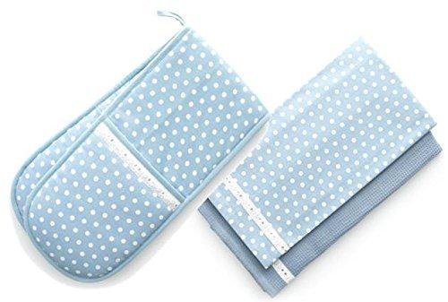 Retro Style Vintage Home POWDER BLUE U0026 WHITE Polka Dot Tea Towels U0026 Double  Oven Glove