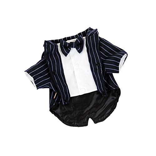 bouti1583 Formal Navy Striped Tuxedo with Bow Tie for Dogs Cats Puppy Suit Wedding Party Photo ()