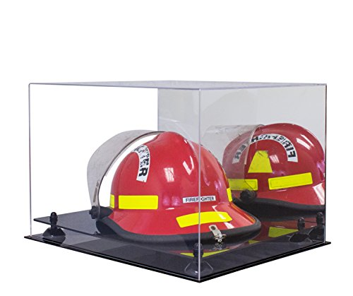 Deluxe Helmet Display Case (Deluxe Acrylic Fireman's Helmet Large Display Case with Black Risers and Mirror (A014-BR))
