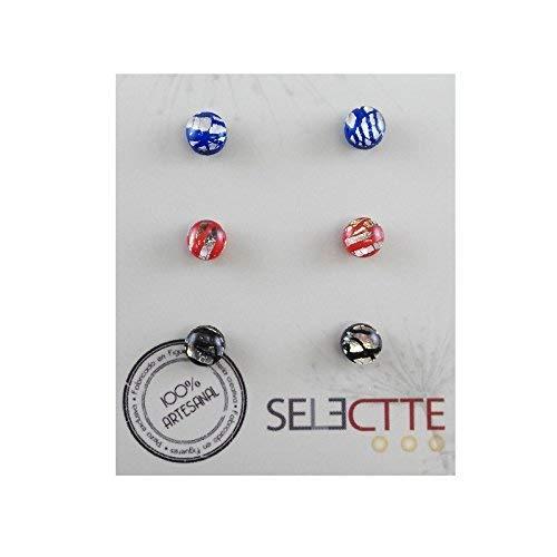 Pack pendientes pequeños antialergicos, azul, rojo y negro: Amazon ...
