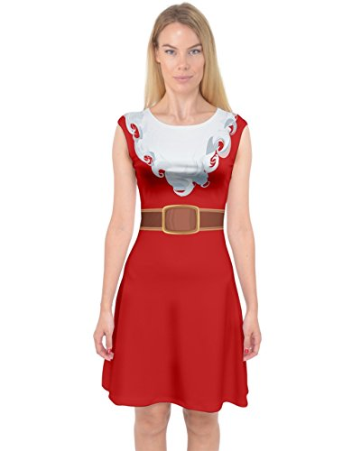PattyCandy Womens Red Mrs Santa Claus Costume Capsleeve Midi Dress - (Mrs Santa Dresses)