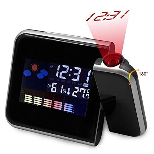 Pinsparkle Weather Forecast Projection Alarm Clock Color Screen Creative Electronic Clock Travel Clocks (Alarm Clock Creative)