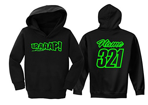JUST RIDE Braaap Toddler Youth Hoodie Sweat Shirt Motocross Number Plate Custom Personalized (4T, -